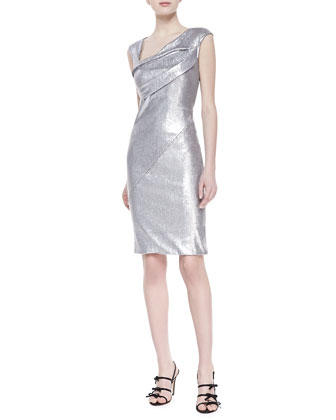 Sequined Cap-Sleeve Dress, Quartz