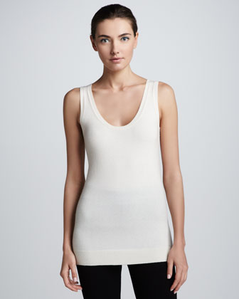 Stretch-Cashmere Tank Top, Vellum