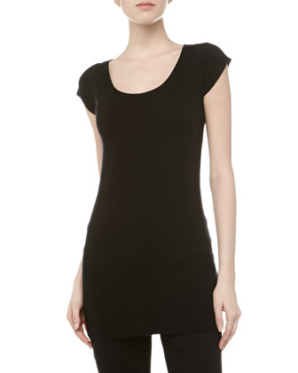 Short-Sleeve Wide Neck Tunic, Black
