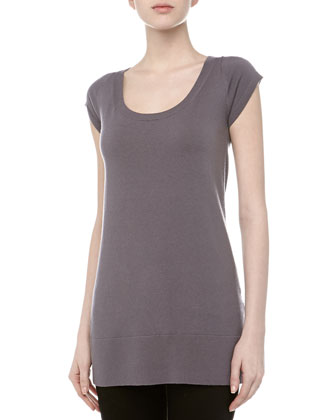 Short-Sleeve Stretch-Cashmere Wide-Neck Tunic, Geode