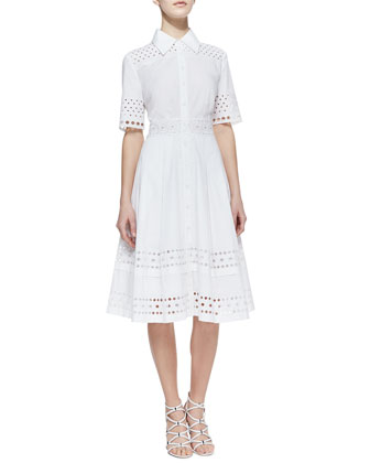 Cutout-Trim Stretch-Cotton Shirtdress