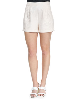 Cuffed Crocodile Jacquard Shorts