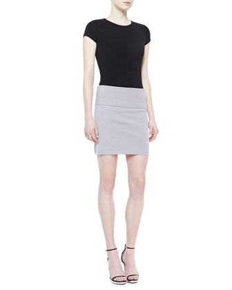 Stretch-Cashmere Tube Skirt, Quartz