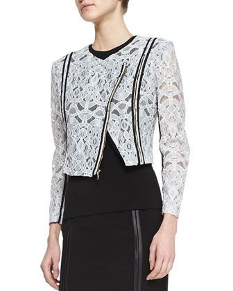 Colletta Embroidered Lace Jacket, Savie Sleeveless Crepe Top & Raven Pencil ...
