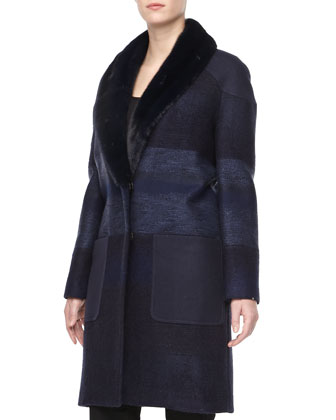Tweed Mink Fur-Collar Coat