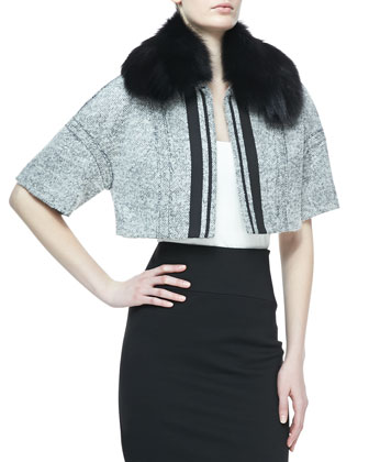 Fox Fur-Trim Cropped Tweed Jacket