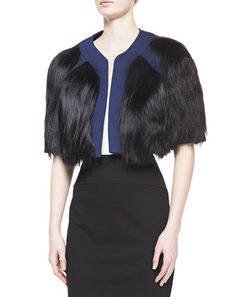 Goat Fur Cropped Jacket, Indigo