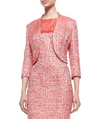 Cutaway Hem 3/4-Sleeve Jacket & Sleeveless Lace Top Sheath Dress