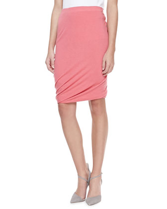 Double Layer Twisted Draped Skirt, Rose Quartz