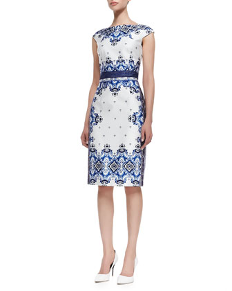 Cap Sleeve Baroque Print Dress, Blue/White