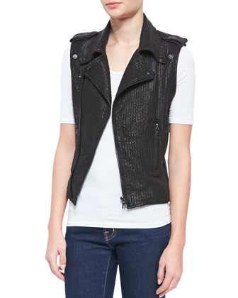 Perforated Leather Moto Vest