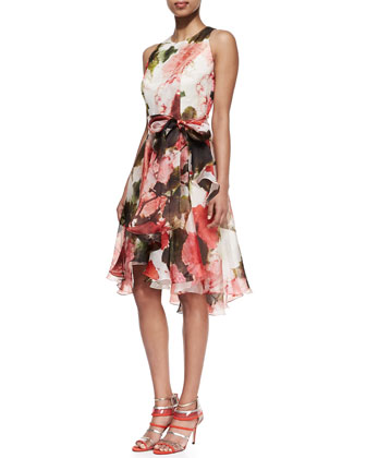 Floral Silk Sleeveless Cocktail Dress
