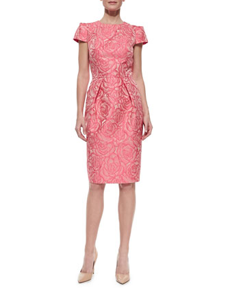 Floral Jacquard Sheath Cocktail Dress