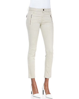 Skinny Ankle Oblique Zip-Pocket Jeans
