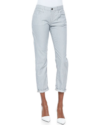 Weekender Striped Slim-Leg Pants