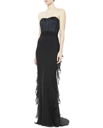 Strapless Ruffle Back Skirt Gown, Black