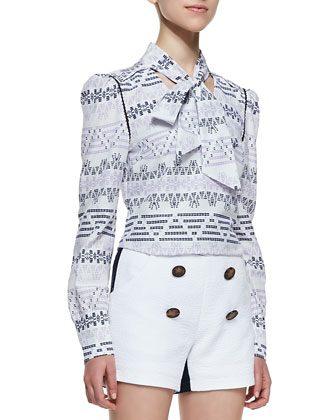 Long-Sleeve Ascot Blouse