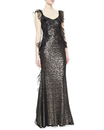 Beaded Ruffle Gown, Black/Gold