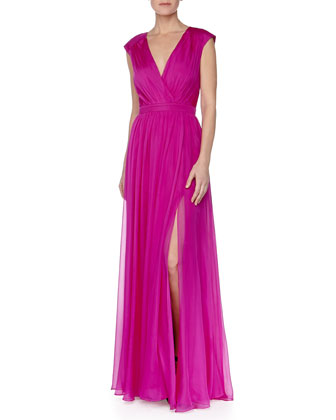 Ruched V-Neck Draped Gown, Fuchsia