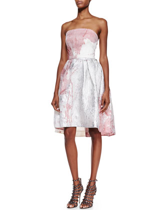 Strapless Floral Cocktail Dress, Ivory/Pink