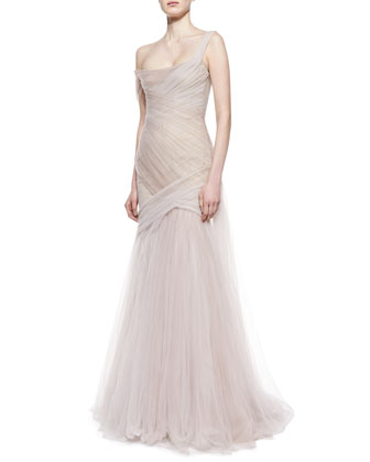 Asymmetric Draped Gown, Blush