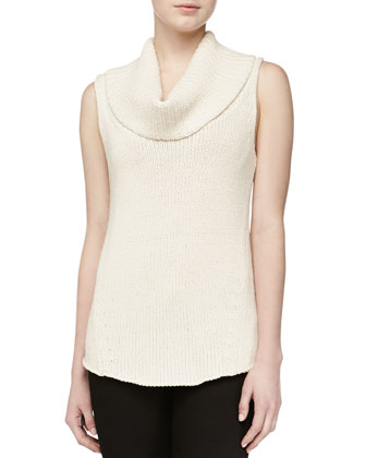 Cashmere Sleeveless Turtleneck, Vellum