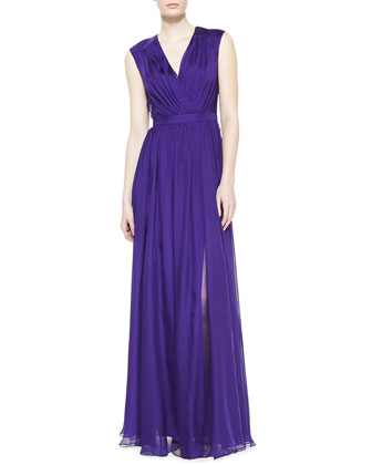 V-Neck Draped Gown, Amethyst