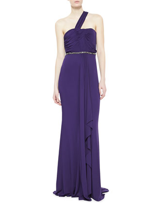 One-Shoulder Draped Gown, Amethyst
