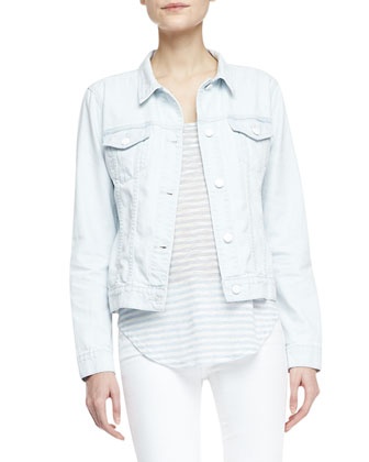 Classic Light-Wash Jean Jacket, Shore Faded-Stripe Slub Tank & Mid-Rise ...
