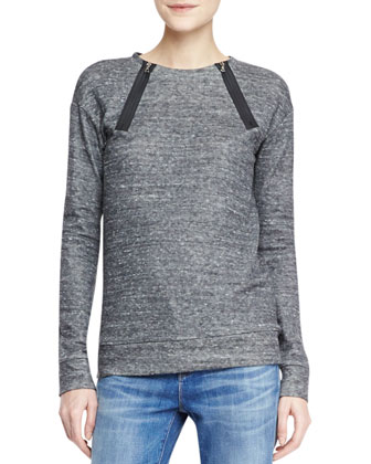 Laura Zip-Neck Fleece Sweatshirt