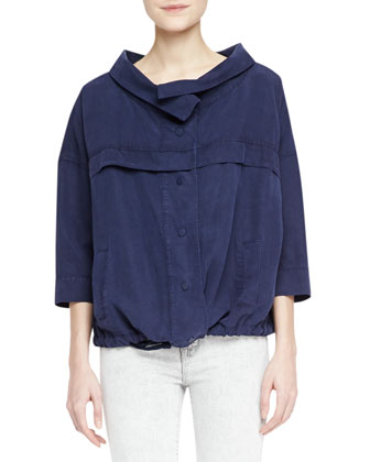 Bapsi Faded Denim Poncho Jacket & Low-Rise Skinny Jeans