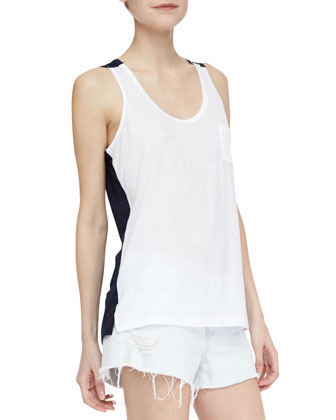 Gertrude Two-Tone Jersey Tank & Soft Light-Wash Cutoff Shorts
