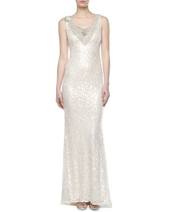V-Neck Sequined Lace Gown