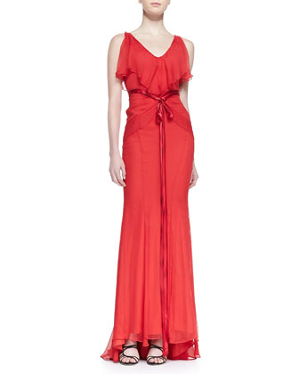 Sleeveless Ruffle-Neck Gown with Ribbon Belt, Raspberry