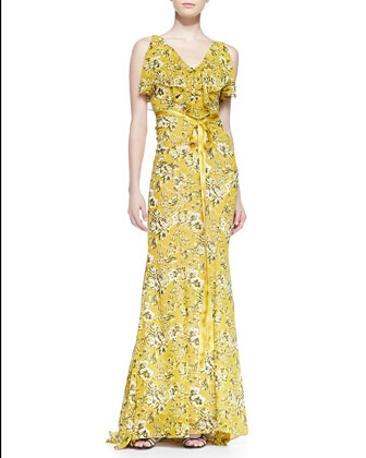 Sleeveless Ruffle Neck Gown with Ribbon Belt, Floral Print