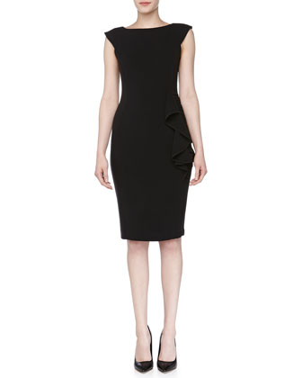 Ruched Ruffled Day Dress, Black
