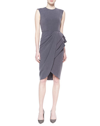 Sleeveless Wrap-Skirt Cocktail Dress, Quartz