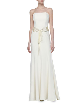 Trapunto Belted Gown, Ivory