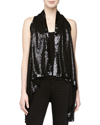 Sleeveless Sequined Cozy, Black