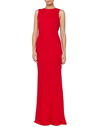 Beaded Cowl-Back Gown, Scarlet