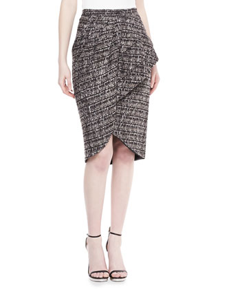 Tweed Peplum Skirt, Smoke