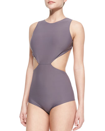 Open-Back Cutout One-Piece Swimsuit, Mauve