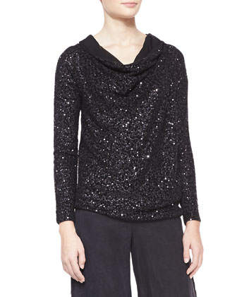 Asymmetric Sequined Cashmere Top, Black