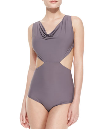Draped Cutout One-Piece Swimsuit, Mauve
