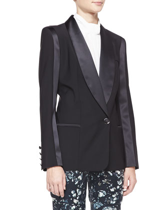 Satin-Trim Wool-Blend Blazer, Black