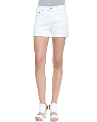 Hailey Roll-Up Shorts, White