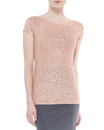 Sequined Cashmere-Silk Top, Flesh