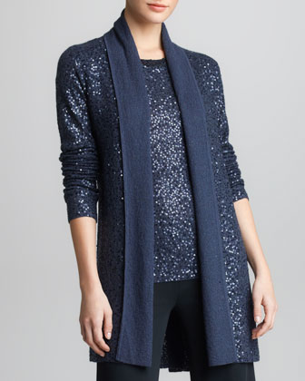 Sequined Cashmere-Silk Cozy Cardigan, Carbon