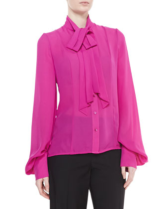 Long-Sleeve Tie-Neck Blouse, Fuchsia