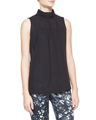 Sleeveless High-Neck Blouse, Black